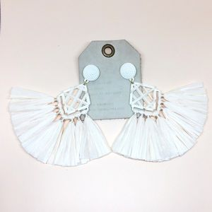NWT Anthropologie White Tassels Earrings